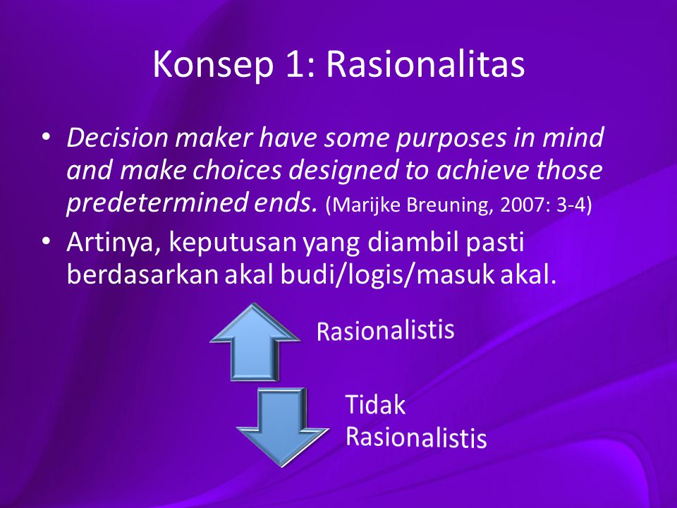 Konsep 2: Nilai/Value Foreign policy desicions are judged to be good or bad in hindsight (led a desirable or disastrous outcome).