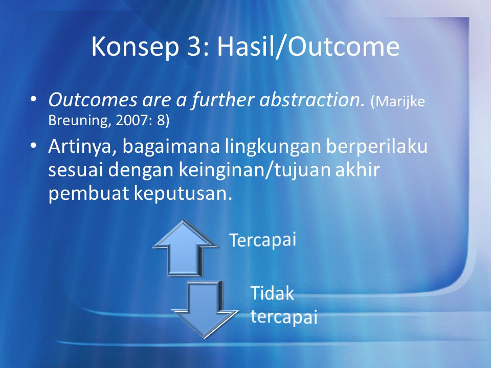 Konsep 3: Hasil/Outcome Outcomes are a further abstraction.