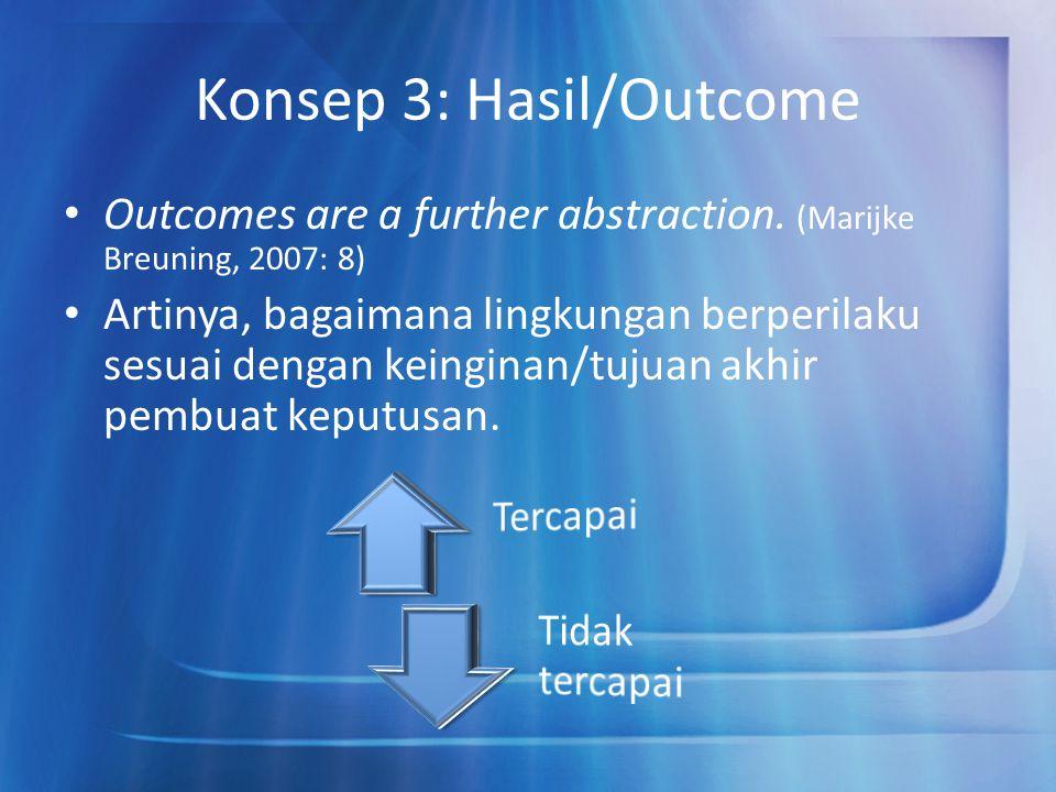 Konsep 3: Hasil/Outcome Outcomes are a further abstraction. (Marijke Breuning, 2007: 8) Artinya, bagaimana lingkungan berperilaku sesuai dengan keingi