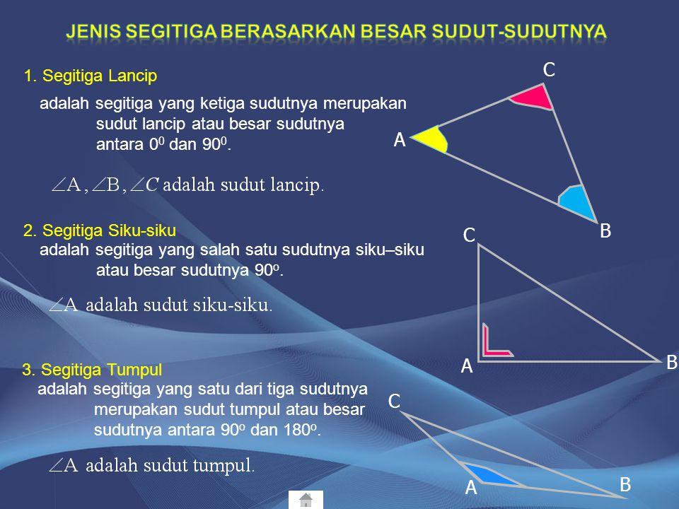 1. Segitiga Sembarang 2. Segitiga Sama Kaki 3. Segitiga Sama Sisi adalah segitiga yang ketiga sisinya tidak sama panjang. adalah segitiga yang dua dar
