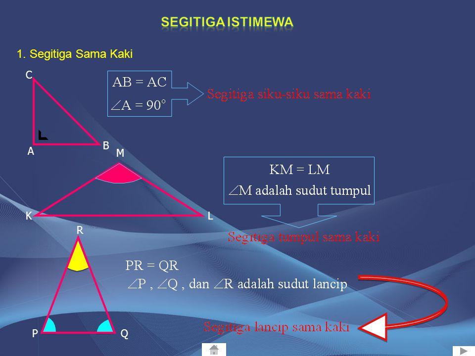 1. Segitiga Lancip 2. Segitiga Siku-siku 3. Segitiga Tumpul adalah segitiga yang ketiga sudutnya merupakan sudut lancip atau besar sudutnya antara 0 0