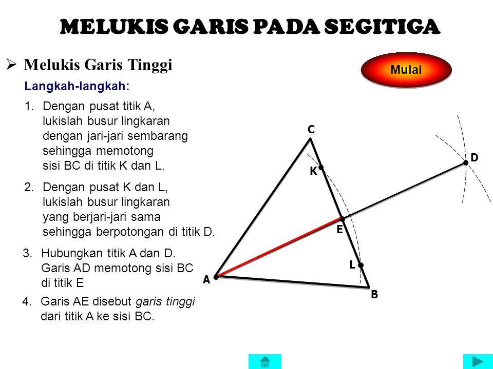 GARIS-GARIS PADA SEGITIGA Garis tinggi Garis bagi Garis sumbu Garis berat adalah garis yang ditarik dari sebuah sudut dalam segitiga yang tegak lurus