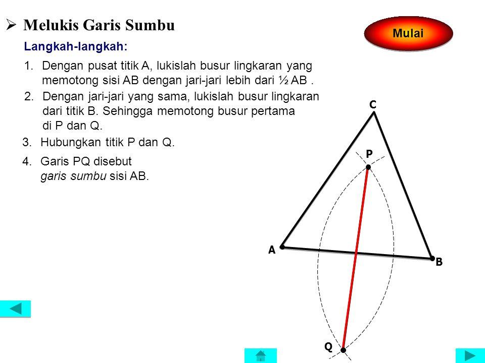  Melukis Garis Bagi Langkah-langkah: 1.Dengan pusat titik A, lukislah busur lingkaran yang memotong sisi AB dan AC berturut-turut di titik K dan L. 2