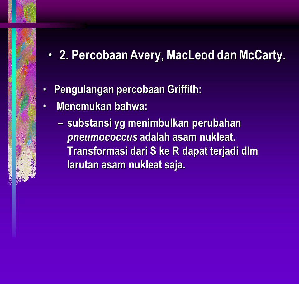 2. Percobaan Avery, MacLeod dan McCarty. 2. Percobaan Avery, MacLeod dan McCarty. Pengulangan percobaan Griffith: Pengulangan percobaan Griffith: Mene