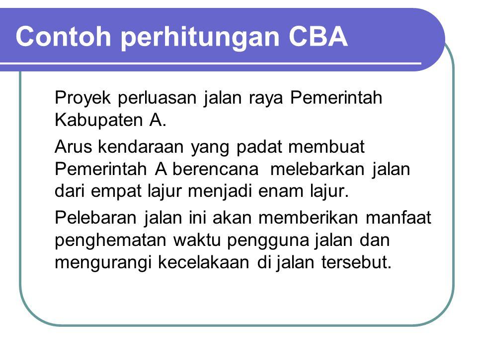 Contoh perhitungan CBA Proyek perluasan jalan raya Pemerintah Kabupaten A. Arus kendaraan yang padat membuat Pemerintah A berencana melebarkan jalan d