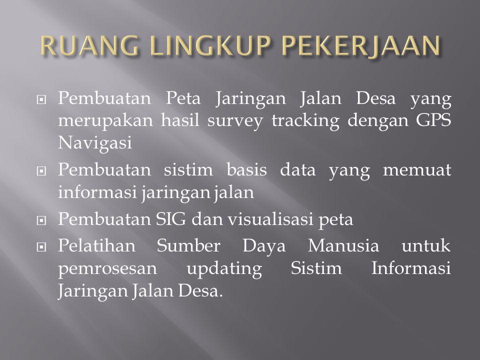  Pembuatan Peta Jaringan Jalan Desa yang merupakan hasil survey tracking dengan GPS Navigasi  Pembuatan sistim basis data yang memuat informasi jari