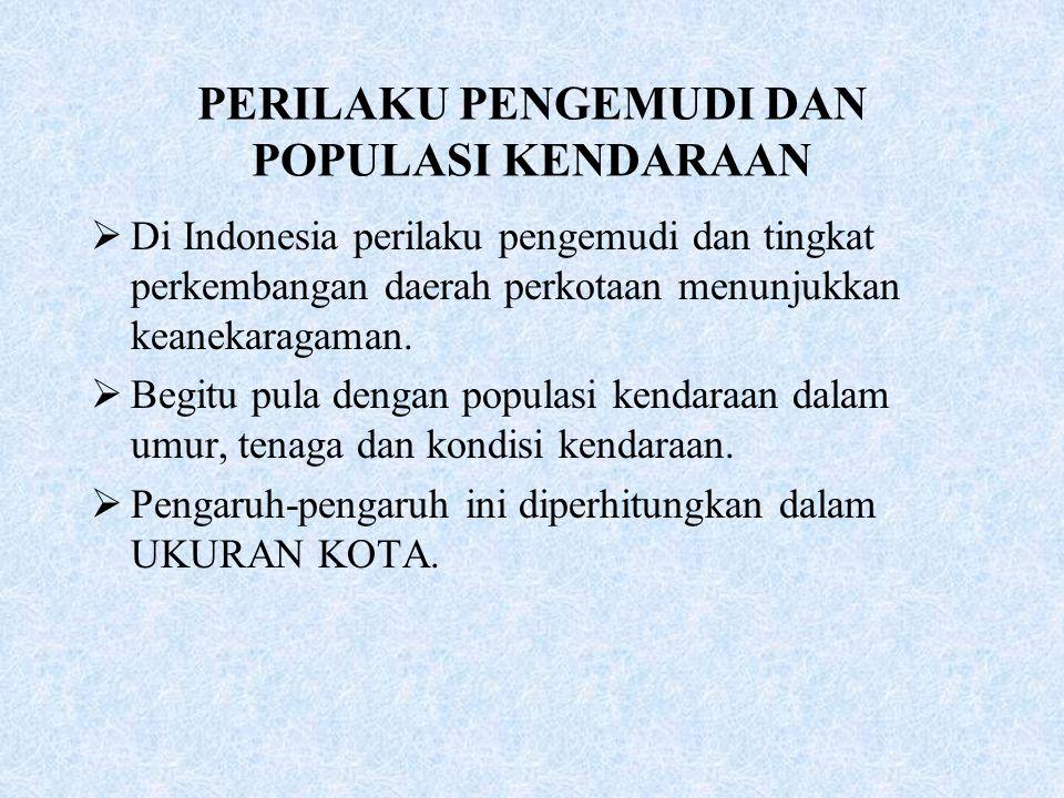 PERILAKU PENGEMUDI DAN POPULASI KENDARAAN  Di Indonesia perilaku pengemudi dan tingkat perkembangan daerah perkotaan menunjukkan keanekaragaman.  Be