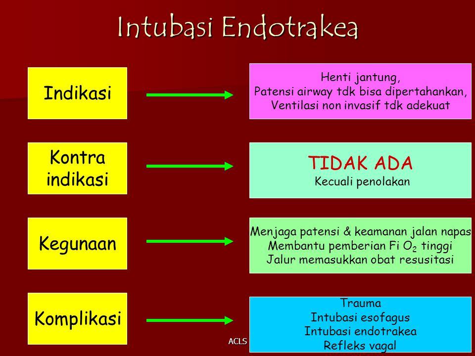 ACLS Intubasi Endotrakea Indikasi Henti jantung, Patensi airway tdk bisa dipertahankan, Ventilasi non invasif tdk adekuat Kontra indikasi TIDAK ADA Ke