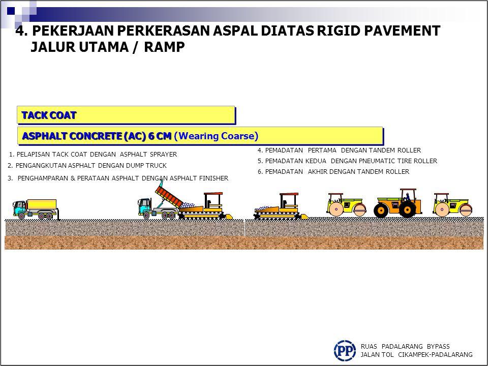 4. PEKERJAAN PERKERASAN ASPAL DIATAS RIGID PAVEMENT JALUR UTAMA / RAMP RUAS PADALARANG BYPASS JALAN TOL CIKAMPEK-PADALARANG 1. PELAPISAN TACK COAT DEN