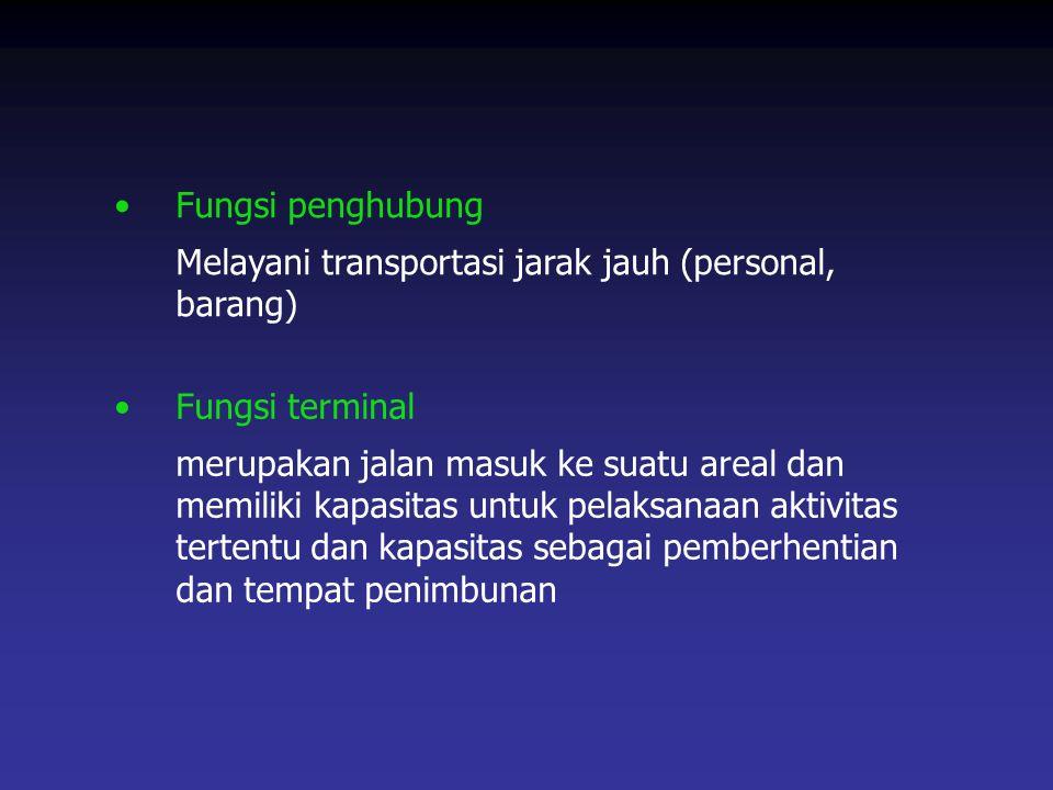 Fungsi penghubung Melayani transportasi jarak jauh (personal, barang) Fungsi terminal merupakan jalan masuk ke suatu areal dan memiliki kapasitas untu