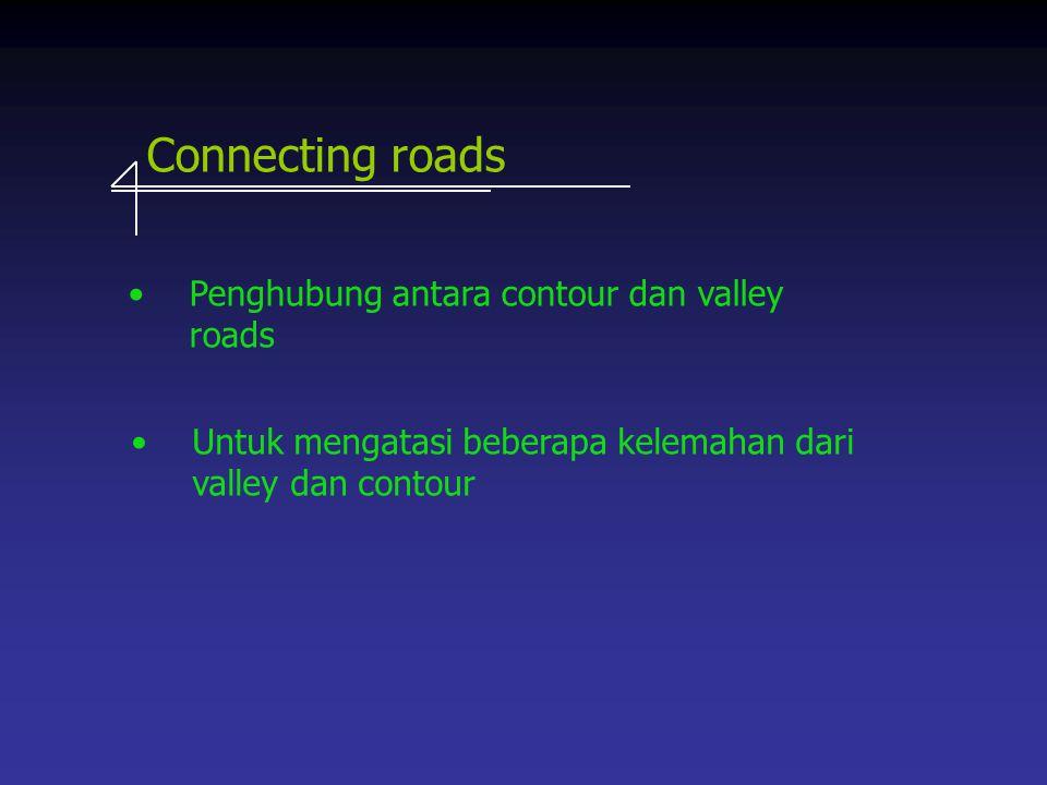 Connecting roads Penghubung antara contour dan valley roads Untuk mengatasi beberapa kelemahan dari valley dan contour