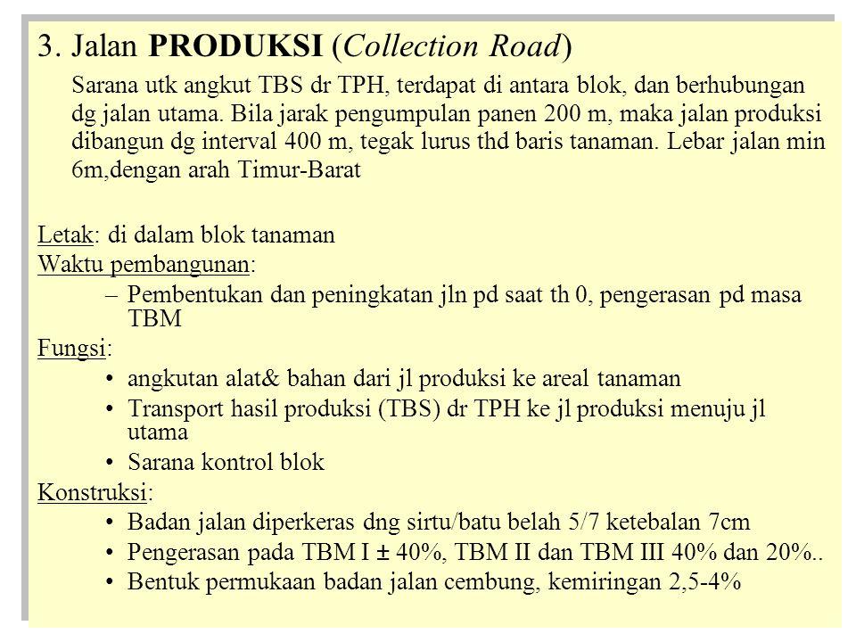 3.Jalan PRODUKSI (Collection Road) Sarana utk angkut TBS dr TPH, terdapat di antara blok, dan berhubungan dg jalan utama.