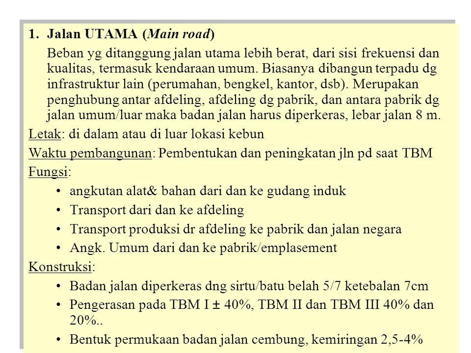 –Lebar jalan =16 m –Pinggir jalan = 2m –Parit jalan = 1x0,6x0,5 m –Bahu jalan = 2m –Badan jalan ± 6m Alat/bahan: –Bila jln berada di pinggir tebing/jurang, parit hanya dibuat sebelah dalam/dinding jalan, sedang pd pinggir jurang dibuat benteng –Pd areal bergelombang/bukit jalan utama lebih panjang dg sistem konstruksi sedikit berbeda –Lebar jalan =16 m –Pinggir jalan = 2m –Parit jalan = 1x0,6x0,5 m –Bahu jalan = 2m –Badan jalan ± 6m Alat/bahan: –Bila jln berada di pinggir tebing/jurang, parit hanya dibuat sebelah dalam/dinding jalan, sedang pd pinggir jurang dibuat benteng –Pd areal bergelombang/bukit jalan utama lebih panjang dg sistem konstruksi sedikit berbeda Metode/alatPekerjaan/ bahan volume ManualPembuatan parit10 m/HK Pembuatan jalan5 m/HK MekanisBuldoser dg pengerasan50 m/JKT Buldoser tanpa pengerasan100 m/JKT BahanBatu kali0,440 m3/m jln Batu belah 5/70,4662 m3/m jln Wales1x gilas /7 jam 2x gilas 300 m2 150m2