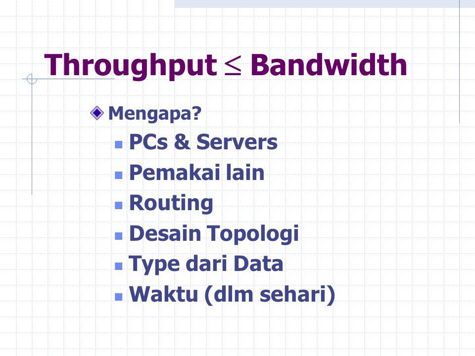 Throughput  Bandwidth Mengapa? PCs & Servers Pemakai lain Routing Desain Topologi Type dari Data Waktu (dlm sehari)