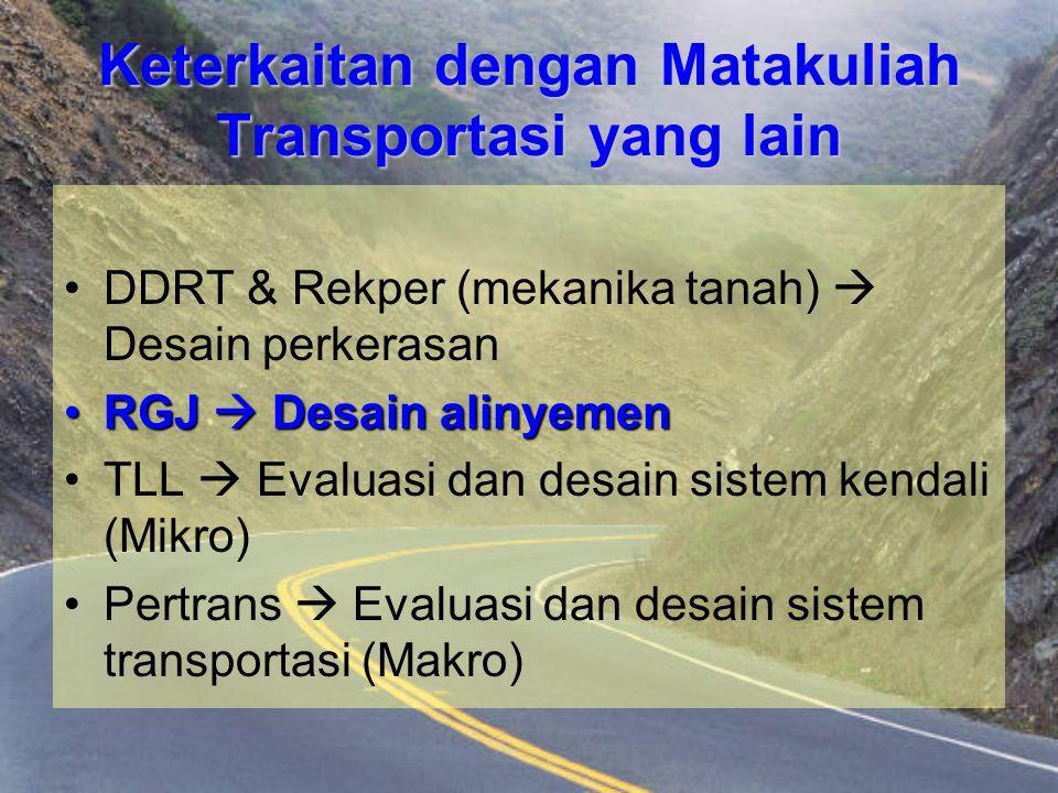 Keterkaitan dengan Matakuliah Transportasi yang lain DDRT & Rekper (mekanika tanah)  Desain perkerasan RGJ  Desain alinyemenRGJ  Desain alinyemen T