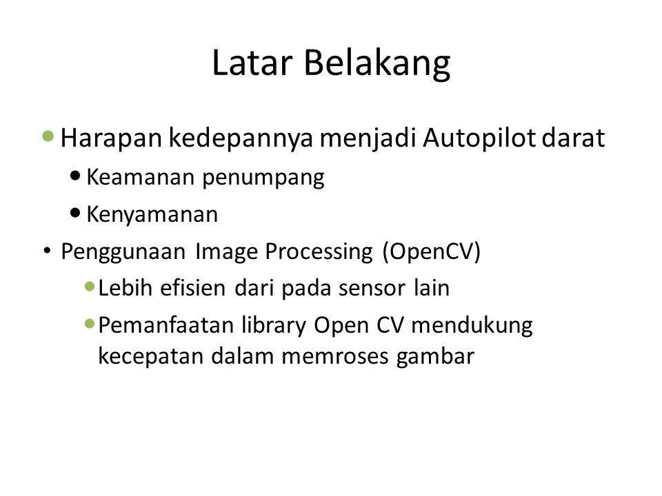Latar Belakang Harapan kedepannya menjadi Autopilot darat Keamanan penumpang Kenyamanan Penggunaan Image Processing (OpenCV) Lebih efisien dari pada s