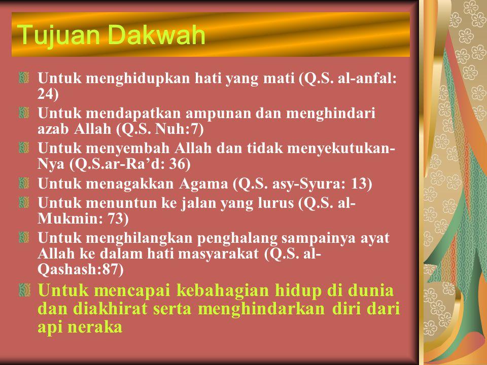 Tujuan Dakwah Untuk menghidupkan hati yang mati (Q.S. al-anfal: 24) Untuk mendapatkan ampunan dan menghindari azab Allah (Q.S. Nuh:7) Untuk menyembah