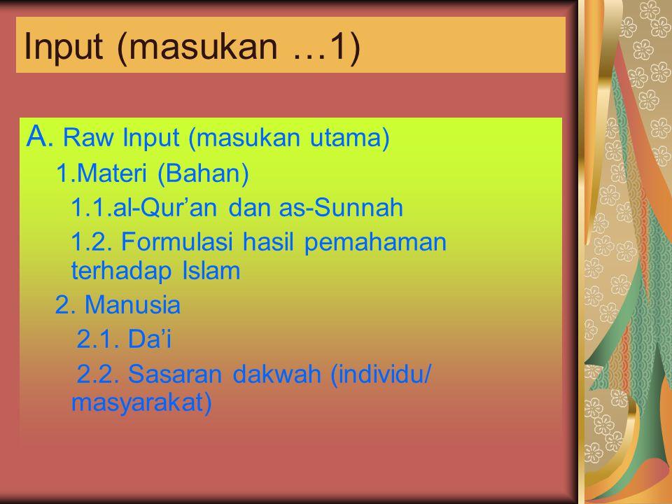 Input (masukan …1) A. Raw Input (masukan utama) 1.Materi (Bahan) 1.1.al-Qur'an dan as-Sunnah 1.2. Formulasi hasil pemahaman terhadap Islam 2. Manusia