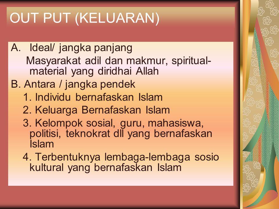 OUT PUT (KELUARAN) A.Ideal/ jangka panjang Masyarakat adil dan makmur, spiritual- material yang diridhai Allah B. Antara / jangka pendek 1. Individu b