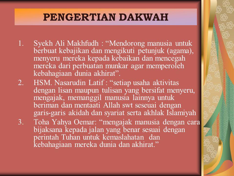 "PENGERTIAN DAKWAH 1.Syekh Ali Makhfudh : ""Mendorong manusia untuk berbuat kebajikan dan mengikuti petunjuk (agama), menyeru mereka kepada kebaikan dan"