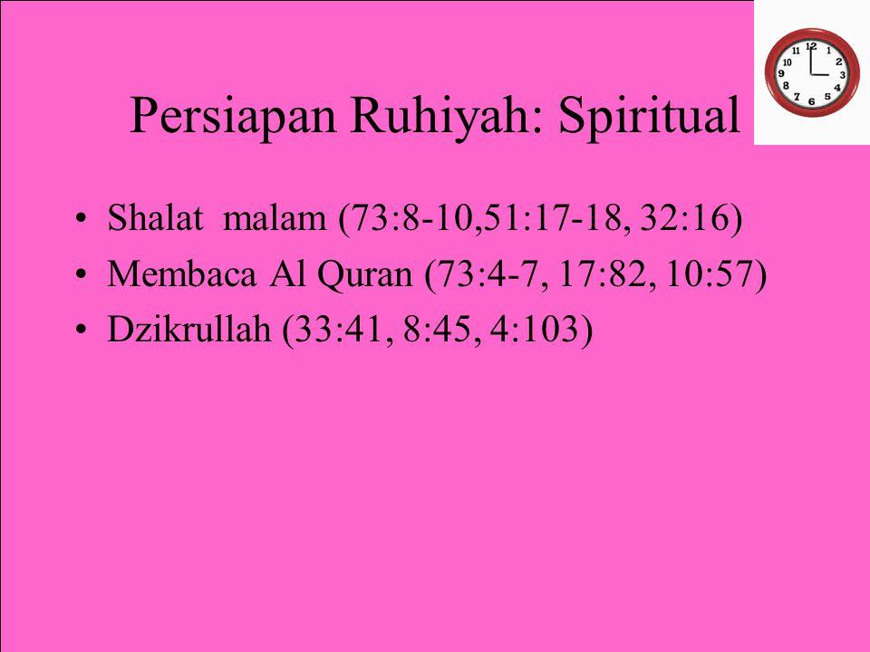 Persiapan Ruhiyah: Spiritual Shalat malam (73:8-10,51:17-18, 32:16) Membaca Al Quran (73:4-7, 17:82, 10:57) Dzikrullah (33:41, 8:45, 4:103)