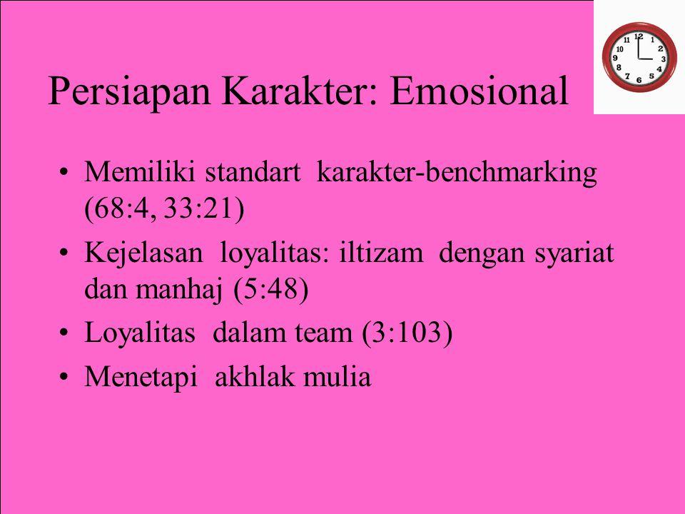 Persiapan Karakter: Emosional Memiliki standart karakter-benchmarking (68:4, 33:21) Kejelasan loyalitas: iltizam dengan syariat dan manhaj (5:48) Loyalitas dalam team (3:103) Menetapi akhlak mulia