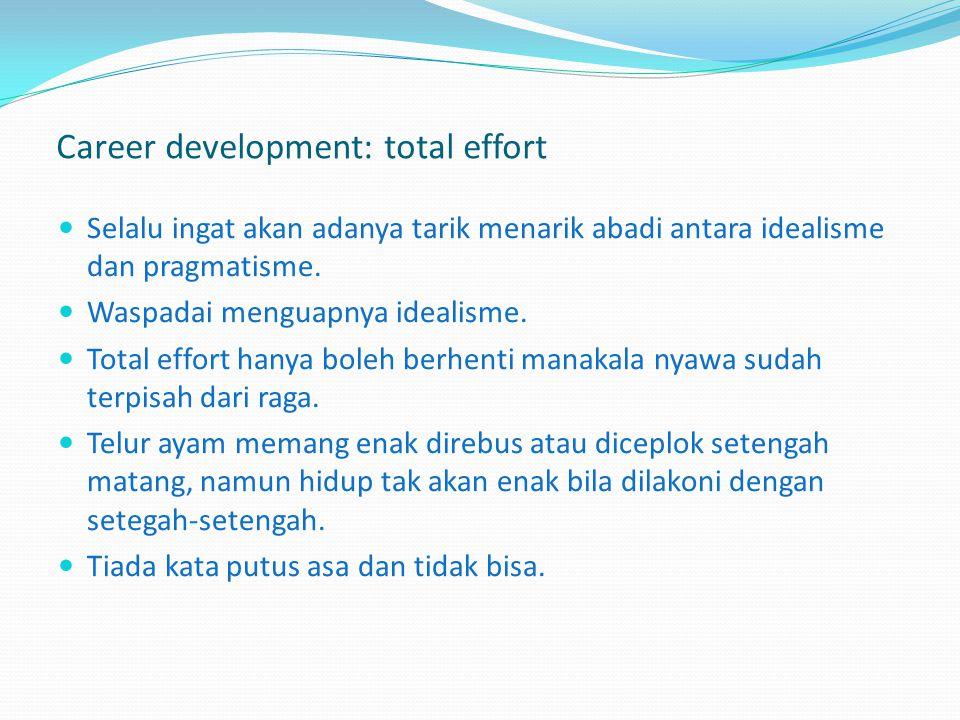 Career development: total effort Hidup bukan judi, dan bukan pula hanya untuk bermimpi, harus ada kerja total untuk mendapat hasil optimal. Allah SWT