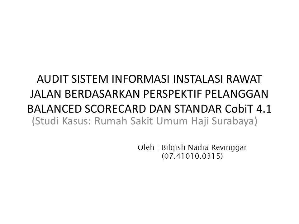 Latar Belakang  Instalasi Sistem Informasi Manajemen adalah bagian dari TI Rumah Sakit Umum Haji Surabaya (RSU Haji Surabaya) yang menangani beberapa proses yang salah satunya adalah sistem informasi instalasi rawat jalan.