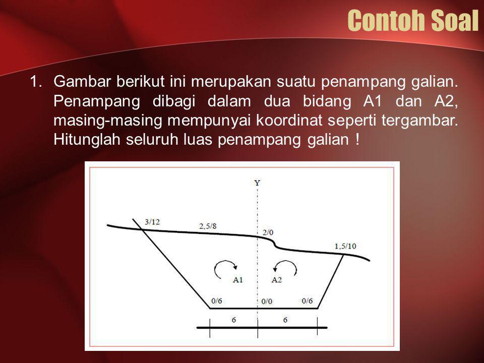 Contoh Soal 1.Gambar berikut ini merupakan suatu penampang galian. Penampang dibagi dalam dua bidang A1 dan A2, masing-masing mempunyai koordinat sepe