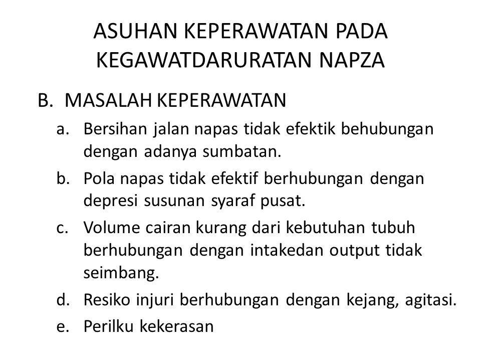 ASUHAN KEPERAWATAN PADA KEGAWATDARURATAN NAPZA B.MASALAH KEPERAWATAN a.Bersihan jalan napas tidak efektik behubungan dengan adanya sumbatan. b.Pola na