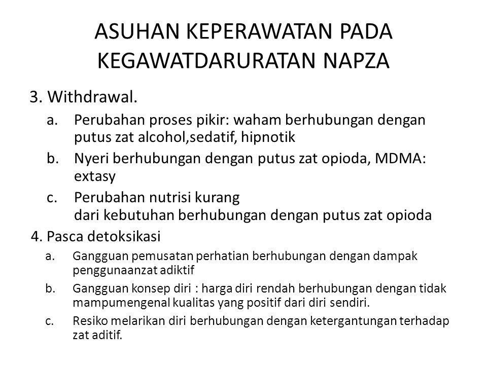 ASUHAN KEPERAWATAN PADA KEGAWATDARURATAN NAPZA 3. Withdrawal. a.Perubahan proses pikir: waham berhubungan dengan putus zat alcohol,sedatif, hipnotik b