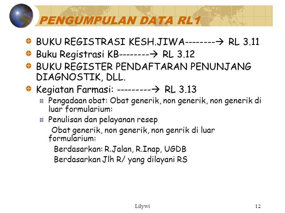Lilywi12 PENGUMPULAN DATA RL1 BUKU REGISTRASI KESH.JIWA--------  RL 3.11 Buku Registrasi KB--------  RL 3.12 BUKU REGISTER PENDAFTARAN PENUNJANG DIAGNOSTIK, DLL.