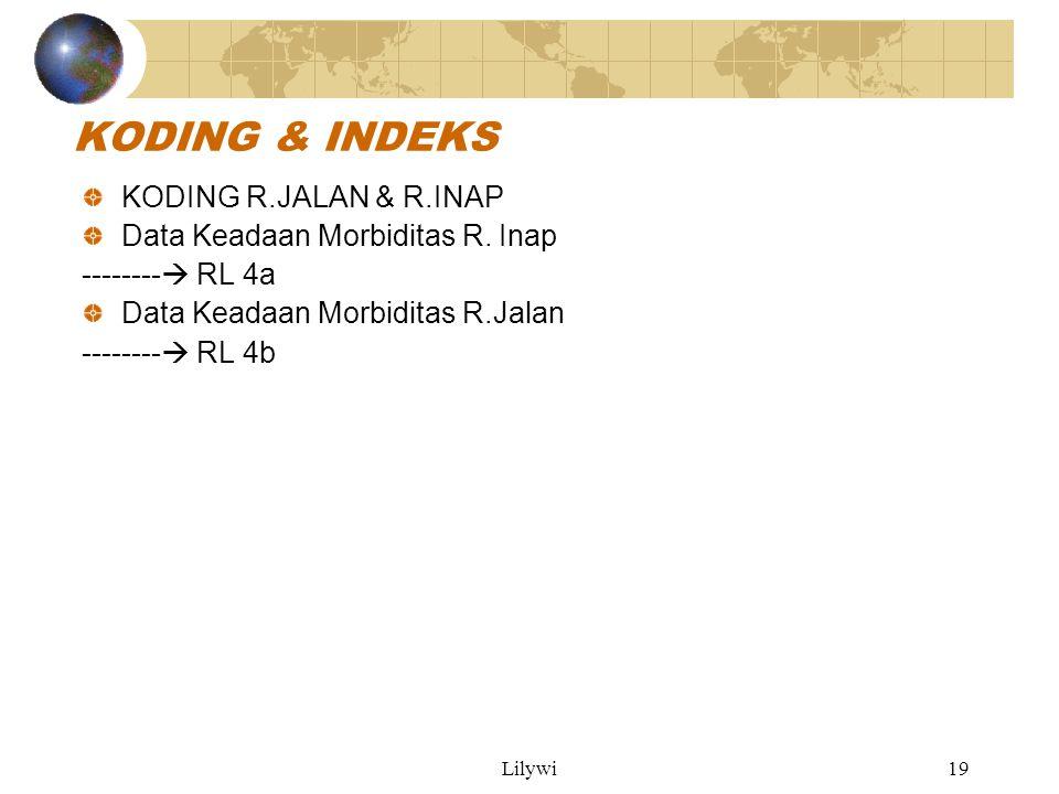 Lilywi19 KODING & INDEKS KODING R.JALAN & R.INAP Data Keadaan Morbiditas R.