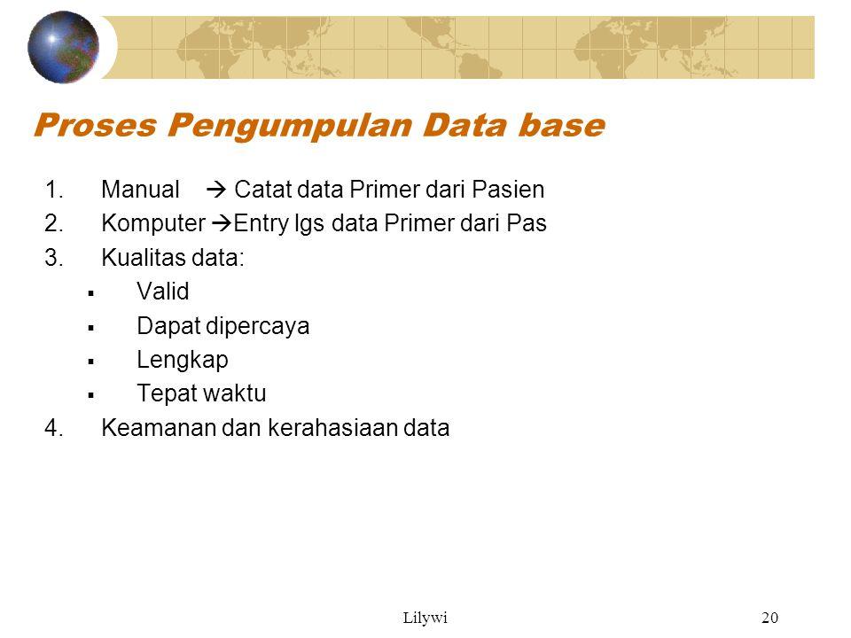 Lilywi20 Proses Pengumpulan Data base 1.Manual  Catat data Primer dari Pasien 2.Komputer  Entry lgs data Primer dari Pas 3.Kualitas data:  Valid  Dapat dipercaya  Lengkap  Tepat waktu 4.Keamanan dan kerahasiaan data