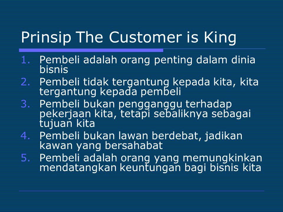 Prinsip The Customer is King 1.Pembeli adalah orang penting dalam dinia bisnis 2.Pembeli tidak tergantung kepada kita, kita tergantung kepada pembeli
