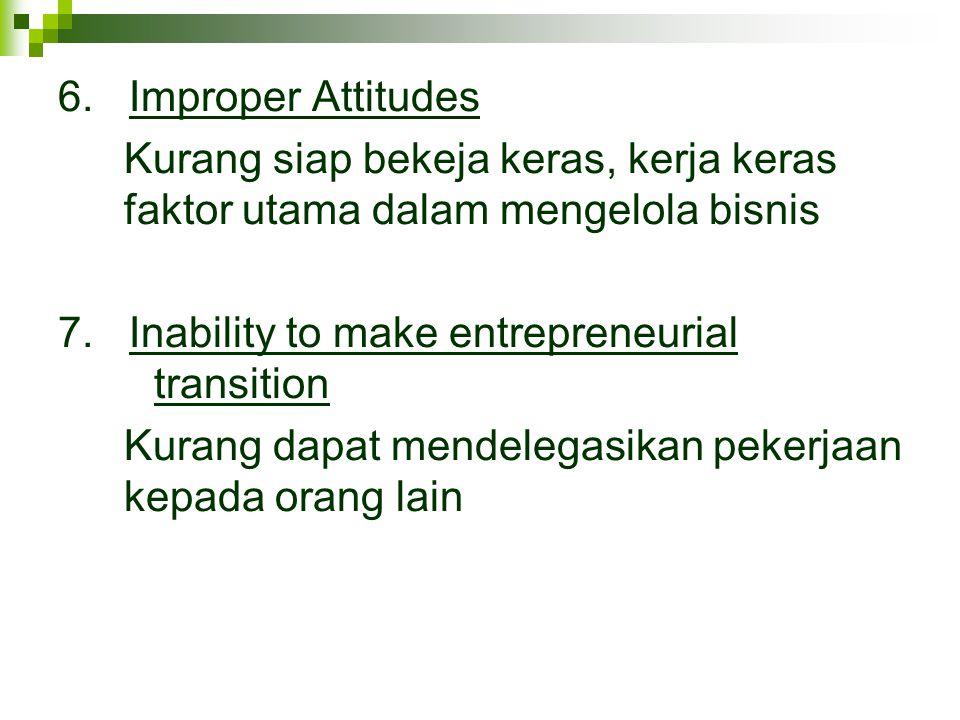 6. Improper Attitudes Kurang siap bekeja keras, kerja keras faktor utama dalam mengelola bisnis 7. Inability to make entrepreneurial transition Kurang