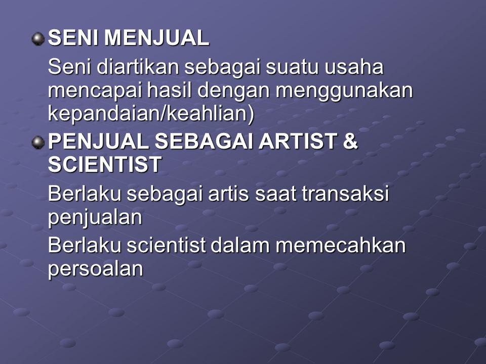 SENI MENJUAL Seni diartikan sebagai suatu usaha mencapai hasil dengan menggunakan kepandaian/keahlian) PENJUAL SEBAGAI ARTIST & SCIENTIST Berlaku seba