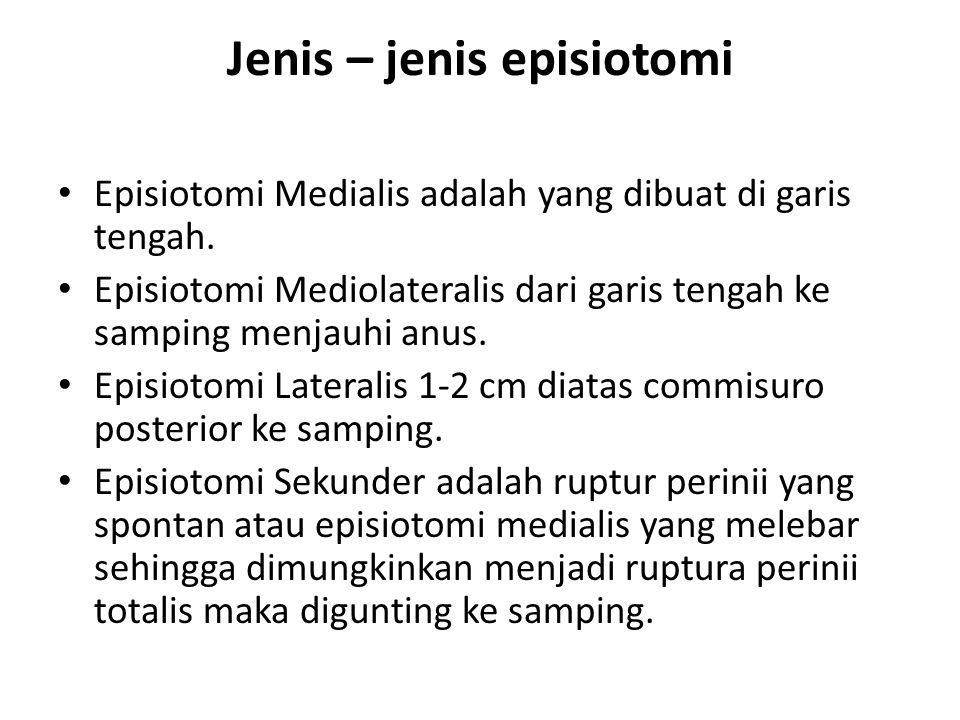 Jenis – jenis episiotomi Episiotomi Medialis adalah yang dibuat di garis tengah.