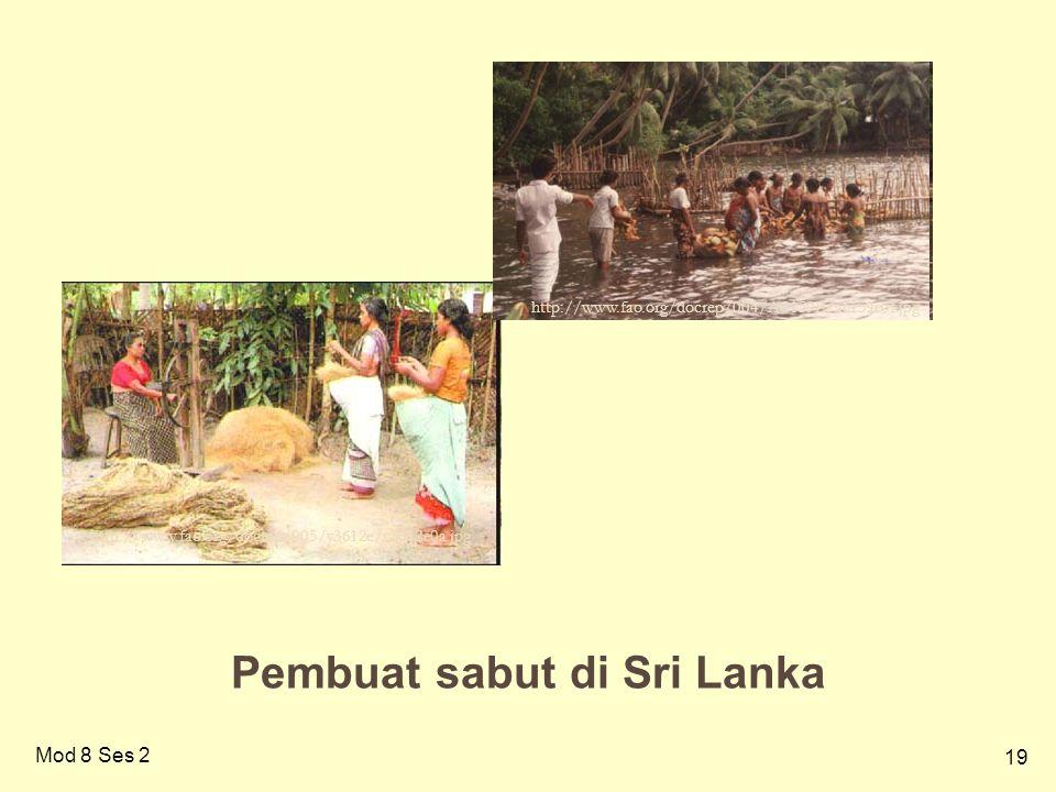 19 Pembuat sabut di Sri Lanka http://www.fao.org/docrep/005/y3612e/y3612e0a.jpg http://www.fao.org/docrep/004/AC159E/ac159e0f.jpg Mod 8 Ses 2