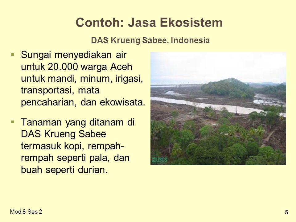 5 Contoh: Jasa Ekosistem DAS Krueng Sabee, Indonesia  Sungai menyediakan air untuk 20.000 warga Aceh untuk mandi, minum, irigasi, transportasi, mata pencaharian, dan ekowisata.