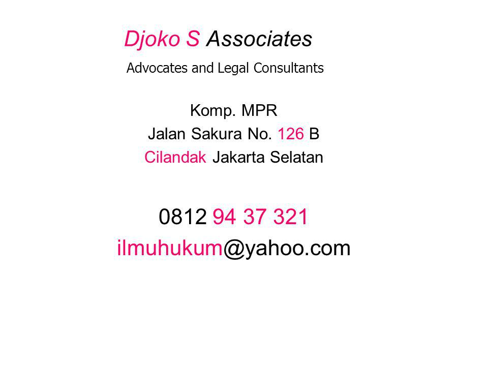 Djoko S Associates Advocates and Legal Consultants Komp.