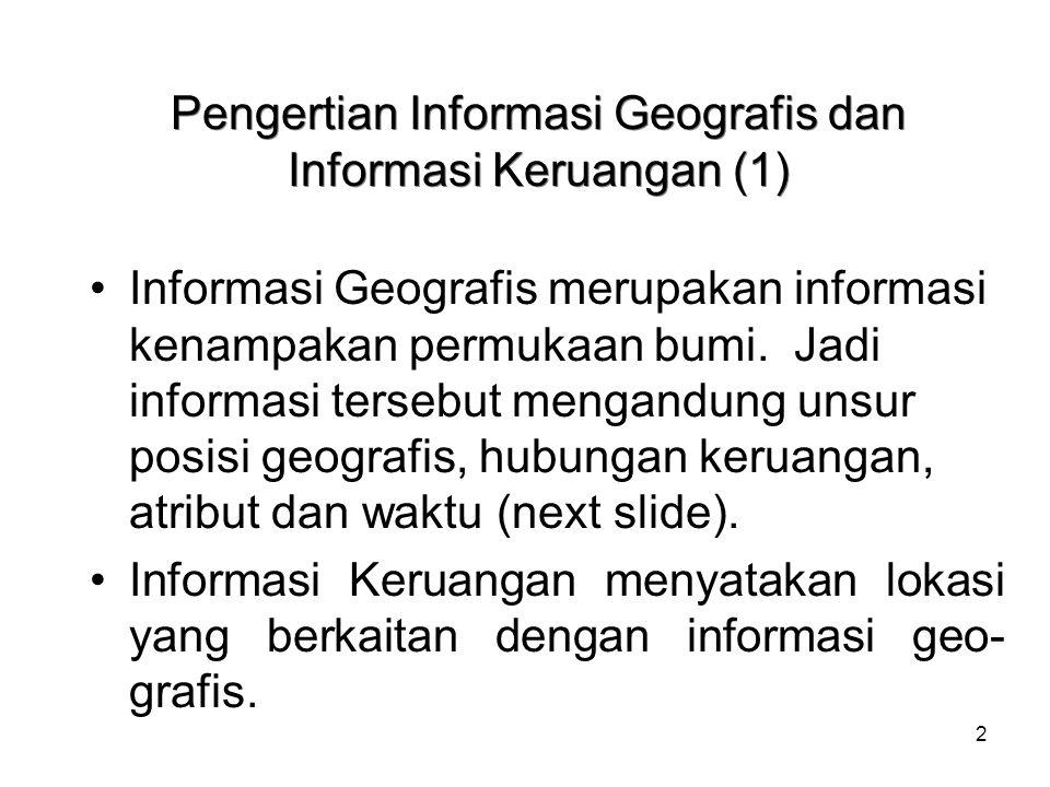 2 Pengertian Informasi Geografis dan Informasi Keruangan (1) Informasi Geografis merupakan informasi kenampakan permukaan bumi. Jadi informasi tersebu