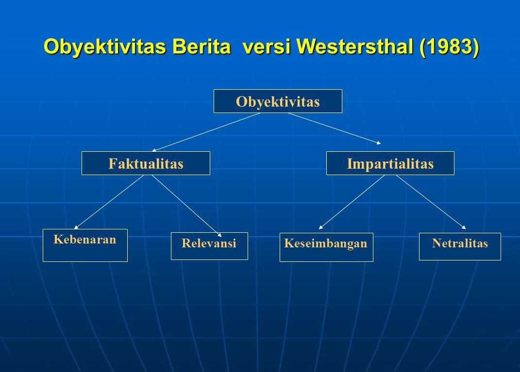 Obyektivitas Berita versi Westersthal (1983) Obyektivitas Kebenaran KeseimbanganNetralitas Relevansi FaktualitasImpartialitas