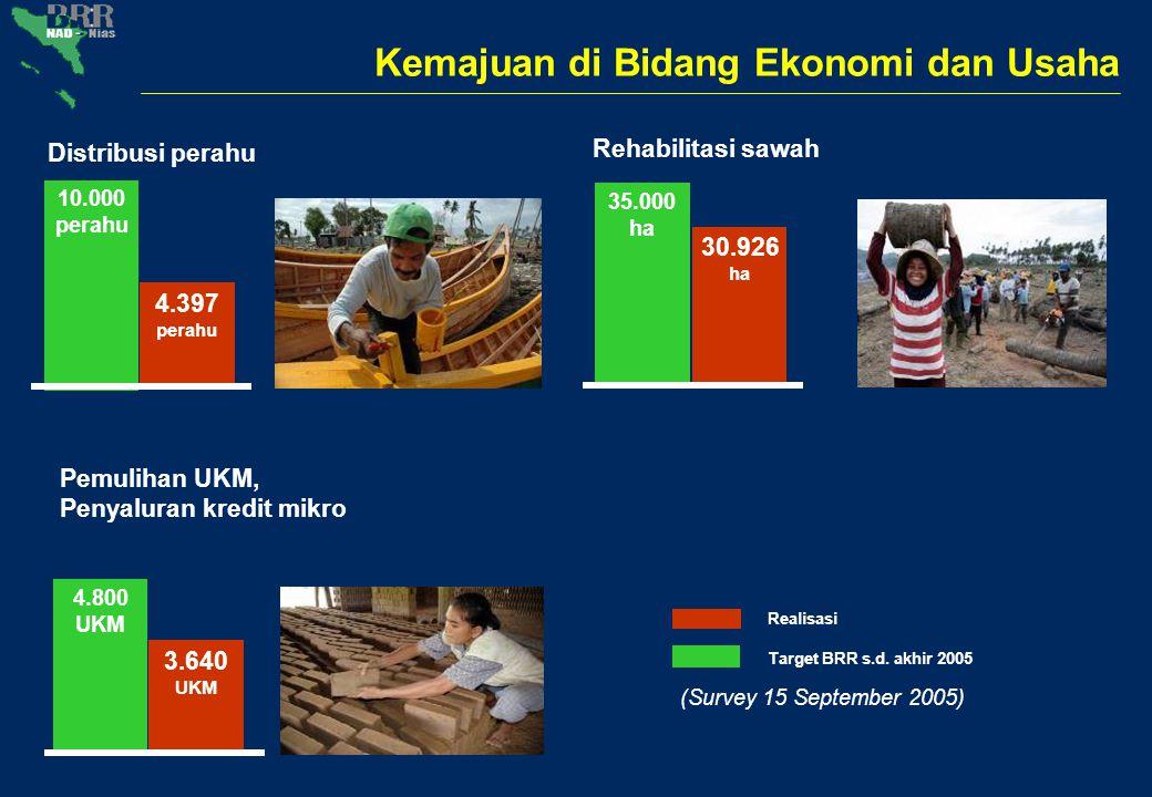 Kemajuan di Bidang Ekonomi dan Usaha 10.000 perahu 4.397 perahu Distribusi perahu 35.000 ha 30.926 ha Rehabilitasi sawah 4.800 UKM 3.640 UKM Pemulihan
