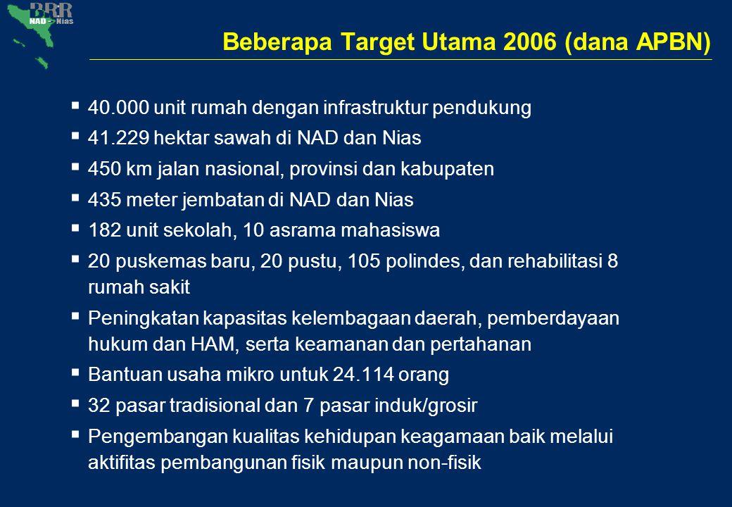 Beberapa Target Utama 2006 (dana APBN)  40.000 unit rumah dengan infrastruktur pendukung  41.229 hektar sawah di NAD dan Nias  450 km jalan nasiona