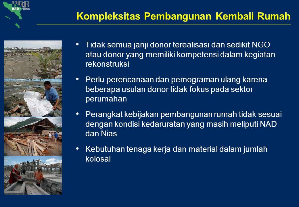 Kompleksitas Pembangunan Kembali Rumah Tidak semua janji donor terealisasi dan sedikit NGO atau donor yang memiliki kompetensi dalam kegiatan rekonstr