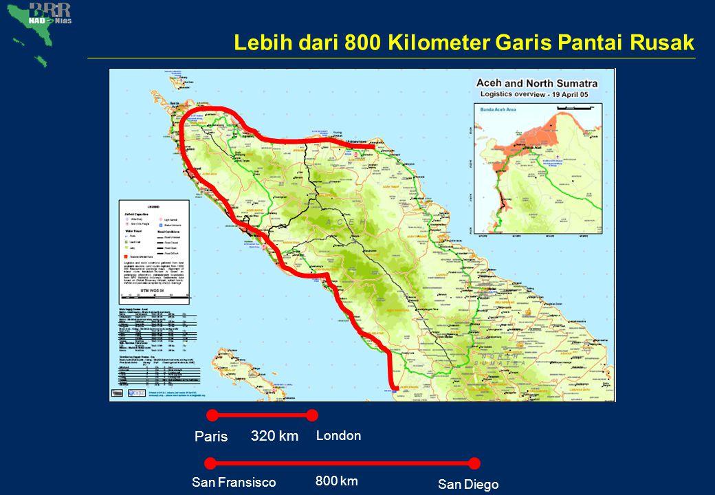 Lebih dari 800 Kilometer Garis Pantai Rusak Paris London San Fransisco San Diego 800 km 320 km