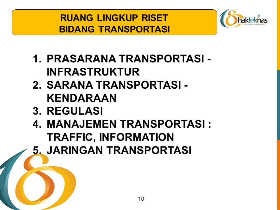 10 1.PRASARANA TRANSPORTASI - INFRASTRUKTUR 2.SARANA TRANSPORTASI - KENDARAAN 3.REGULASI 4.MANAJEMEN TRANSPORTASI : TRAFFIC, INFORMATION 5.JARINGAN TR