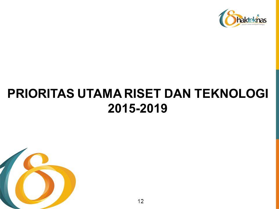 PRIORITAS UTAMA RISET DAN TEKNOLOGI 2015-2019 12