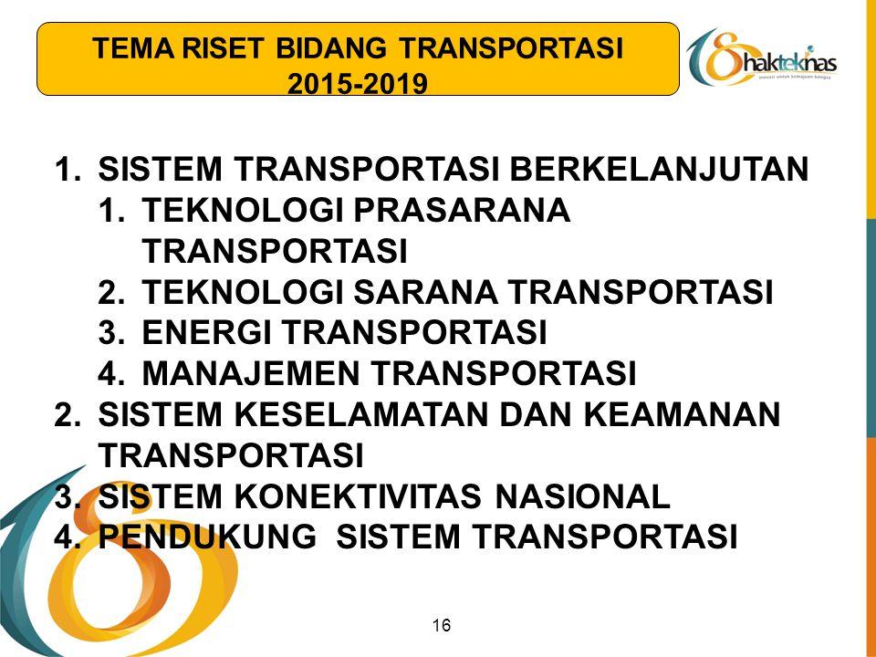 16 1.SISTEM TRANSPORTASI BERKELANJUTAN 1.TEKNOLOGI PRASARANA TRANSPORTASI 2.TEKNOLOGI SARANA TRANSPORTASI 3.ENERGI TRANSPORTASI 4.MANAJEMEN TRANSPORTA